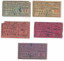 Tram. Lot De 5 Billets De La Ligne Du Centre 1. Valeurs De : 10,15, 20, 25, 35 Centimes. - Europe