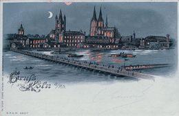 Allemagne, Gruss Aus  Köln, Clair De Lune, Carte Litho Ajourée Avec Effet De Lumière (8.8.1899) Endommagée - Contraluz