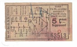 Tram. Billets De La Ligne Du Centre 1. Valeur De : 5 Centimes.Supplément. - Tram