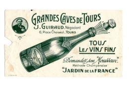 Buvard Grandes Caves De Tours J Guiraud Vins Fins Mousseux Jardin France Alcool - Liquor & Beer