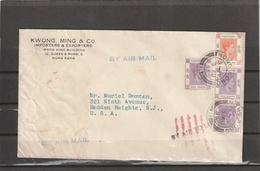 Hong Kong BY AIR TO LONDON And To USA COVER 1946 - Hong Kong (...-1997)