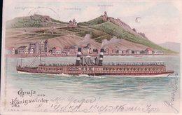 Allemagne, Gruss Aus  Königswinter, Dampfschiff WILHELM, Carte Litho Ajourée Avec Effet De Lumière (16.7.1902) - Contraluz