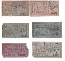 Tram. Lot De 6 Billets De La Ligne Du Centre 2. Valeurs De : 5, 15, 20, 25, 30, 35 Centimes.(Binche,Chapelle, Lobbes...) - Europe