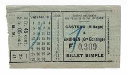 Tram.Billet Simple De La Ligne Casteau à Enghien. - Europe
