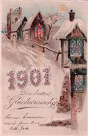 Die Bestene Glückwünsche 1901, Carte Litho Ajourée Avec Effet De Lumière (31.12.1900) - Contraluz