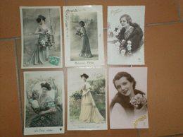 290520B Lot De 6 CPA Fantaisie : FEMME Fleur - Postales