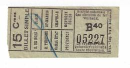 Tram. Billet Simple De La Ligne Charleroi - Montigny église. 15 Centimes. - Tram
