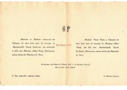 Faire Part Mariage Senemaud Pasty Denise Guillemin Albert Pharmacien Hopitaux Paris 1942 Saint Sebastien Creuse Asnieres - Mariage