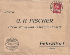 """Motiv Brief  Einsiedeln - """"Fischer, Zünd- Und Fettwaren, Fehraltdorf""""          1916 - Briefe U. Dokumente"""