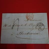 LETTRE GENEVE POUR BORDEAUX - 1854-1862 Helvetia (Non-dentelés)