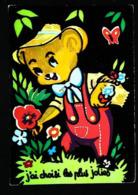 OURS JARDINIER - Carte En Velours Feutrine Sérigraphie FLUO - Cartes Postales