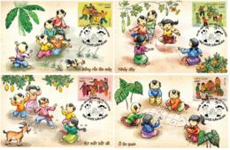 Set Of 4 Vietnam Viet Nam Maxi Maxicards Issued On 1 Jun 2020 : Vietnamese Traditional Children Games (Ms1124) - Vietnam