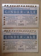 Belgique / Bruxelles - 2 Tickets De Tramway 20 Voyages Avec Publicité Bière Ginder Ale - Valables Jusqu'en Décembre 1940 - Tramways