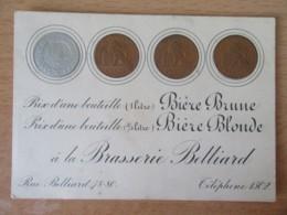 Belgique - Brasserie Belliard - Carte Publicitaire Pour Bière Avec Reproductions De Pièces De Monnaie Belges - Publicités