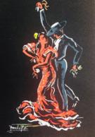 DANSE FLAMENCO D'après Amélie RE - Carte En Couleur Sérigraphie FLUO (Canson Noir Verso Vierge) - Baile
