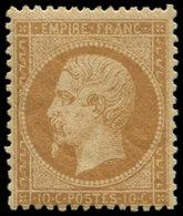 * FRANCE - Poste - 21, Signé Calves Et Roumet: 10c. Bistre - 1862 Napoleon III