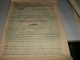 ASSICURAZIONE SINDACATO INFORTUNI PORTI MARITTIMI PER SOCIETA' PENINSULARE GENOVA 1930 - Banque & Assurance