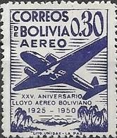 BOLIVIA 1950 Air. 25th Anniversary Of Lloyd Aereo Boliviano - 30c Douglas DC-2 MH - Bolivie