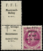 ** FRANCE - Libération (N° Et Cote Mayer) - Montreuil-Bellay 33, Texte Patriotique Sur Le Timbre - Liberation