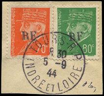 O FRANCE - Libération (N° Et Cote Mayer) - Tours-Gare 2/3, Sur Fragment, Oblitéré 5/9/44, Signé Mayer - Liberation