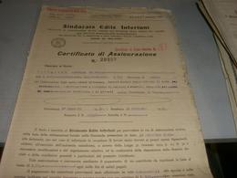CERTIFICATO DI ASSICURAZIONE SINDACATO EDILE INFORTUNI  1933 - Banque & Assurance