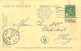 E.P. - Pk. 5 Cent. Pellens - Afgest./obl. Bruxelles. Midi 2/03/1914 >> Huy 1G. - Ganzsachen