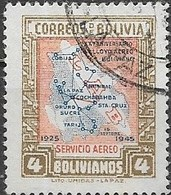 BOLIVIA 1945 Air. 20th Anniversary Of First National Air Service - 4b Lloyd-Aereo Boliviano Air Routes FU - Bolivie