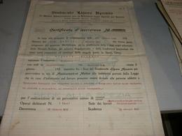 CERTIFICATO DI ASSICURAZIONE SINDACATO LIGURE APUANO 1926 - Banque & Assurance