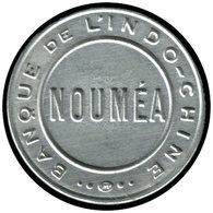 """ALU NOUVELLE-CALEDONIE - Timbres Monnaie - 95, Jeton Aluminium, Fond Rouge, 25c. Bleu: """"Nouméa - Banque De L'Indochine"""" - Neukaledonien"""