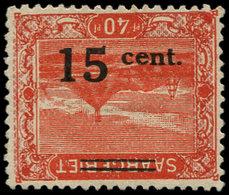 * SARRE - Poste - 72a, Surcharge Renversée: 15/40 - Saargebiet