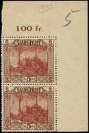 * SARRE - Poste - 100, Paire Bdf: 5f. Brun - Saargebiet