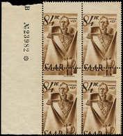** SARRE - Poste - 214, Bloc De 4 Cdf, Piquage à Cheval: 84pf - Saargebiet
