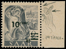 ** SARRE - Poste - 216A, Papier Jaune (grand Trait Au Dessus De L'épaule), Signé Brun, (Michel 226 I PF) - Saargebiet