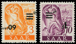 ** SARRE - Poste - 217b + 218 Aa, Surcharge Renversée (le 217 B Signé Brun). - Saargebiet