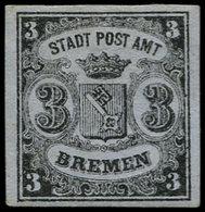 (*) ALL.  BREME - Poste - 1aB, Type II, Vergé Vertical, Bien Margé, Signé Brun: 3g. Noir Sur Azuré - Bremen