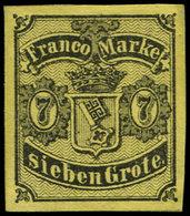 (*) ALL.  BREME - Poste - 3, Très Belles Marges, Signé Brun: 7g. Noir Sur Jaune - Bremen