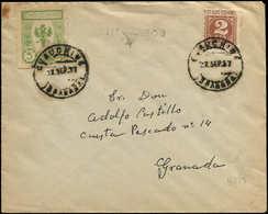 LET ESPAGNE GUERRE CIVILE NATION - Poste - Chauchina Ed. 11, Sur Enveloppe 22/9/37: 5c. Vert - Vignette Della Guerra Civile