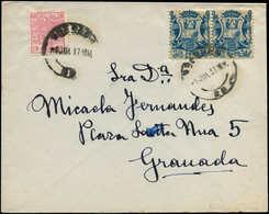 LET ESPAGNE GUERRE CIVILE NATION - Poste - Granada Ed. 36, Paire + Fiscal 30c. Rouge, Sur Enveloppe 9/7/37: 1c. Bleu - Vignette Della Guerra Civile