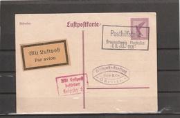 Germany Reich POSTHILFSTELLE BRAUNSCHWEIG FLUGHAFEN AIRMAIL FFC POSTAL CARD 1926 - Covers & Documents