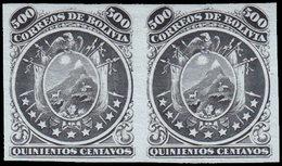 (*) BOLIVIE - Poste - 13, Exceptionnelle Paire Non Dentelée, Papier Ordinaire: 500c. Noir - Bolivie