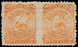 * BOLIVIE - Poste - 37, Paire Horizontale Non Dentelée Au Milieu: 10c. Orange - Bolivie
