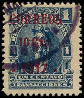 O BOLIVIE - Poste - 110, émission Provisoire De Cobija Sur Timbre Fiscal 1917, Signé + Certificat Photo Scheller: 10/1c. - Bolivie