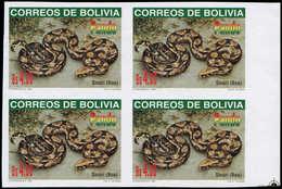** BOLIVIE - Poste - 993, Bloc De 4 Non Dentelé, Bdf (1 Feuille Connue): 4b. Serpent Boa - Bolivie