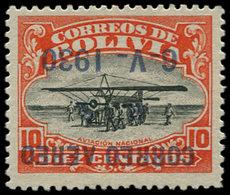 * BOLIVIE - Poste Aérienne - 3B, Surcharge Renversée (tirage 100): 10c. Zeppelin - Bolivie