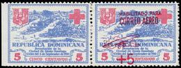 ** DOMINICAINE - Poste Aérienne - 12, Paire, Un Exemplaire Avec Surcharge, Signé Roumet: Croix-Rouge - República Dominicana
