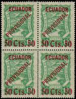 """** EQUATEUR - Poste Aérienne - 1, Bloc De 4, """"50cts/ 10"""" Vert (tirage 100), Infimes Adhérences D'origine Sur La Gomme -  - Ecuador"""