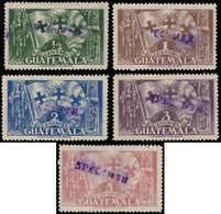 """(*) GUATEMALA - Poste - 259/63, Surcharge """"spécimen"""": C. Colomb - Guatemala"""