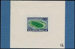"""EPA GUATEMALA - Poste Aérienne - 178, épreuve En Violet Et Vert (N """"G"""") Sur Support Carton: 65c. Stade De Football - Guatemala"""