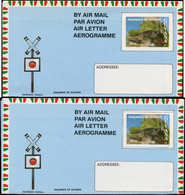 N GUYANE. - Entiers Postaux - Wiegand 18A/B, 2 Aérogrammes, Dentelé + Non Dentelé: Train - Guyana (1966-...)