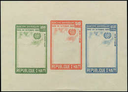 ** HAITI - Blocs Feuillets - 15, Sans Impression Du Centre (couleur Noire): ONU - Haití